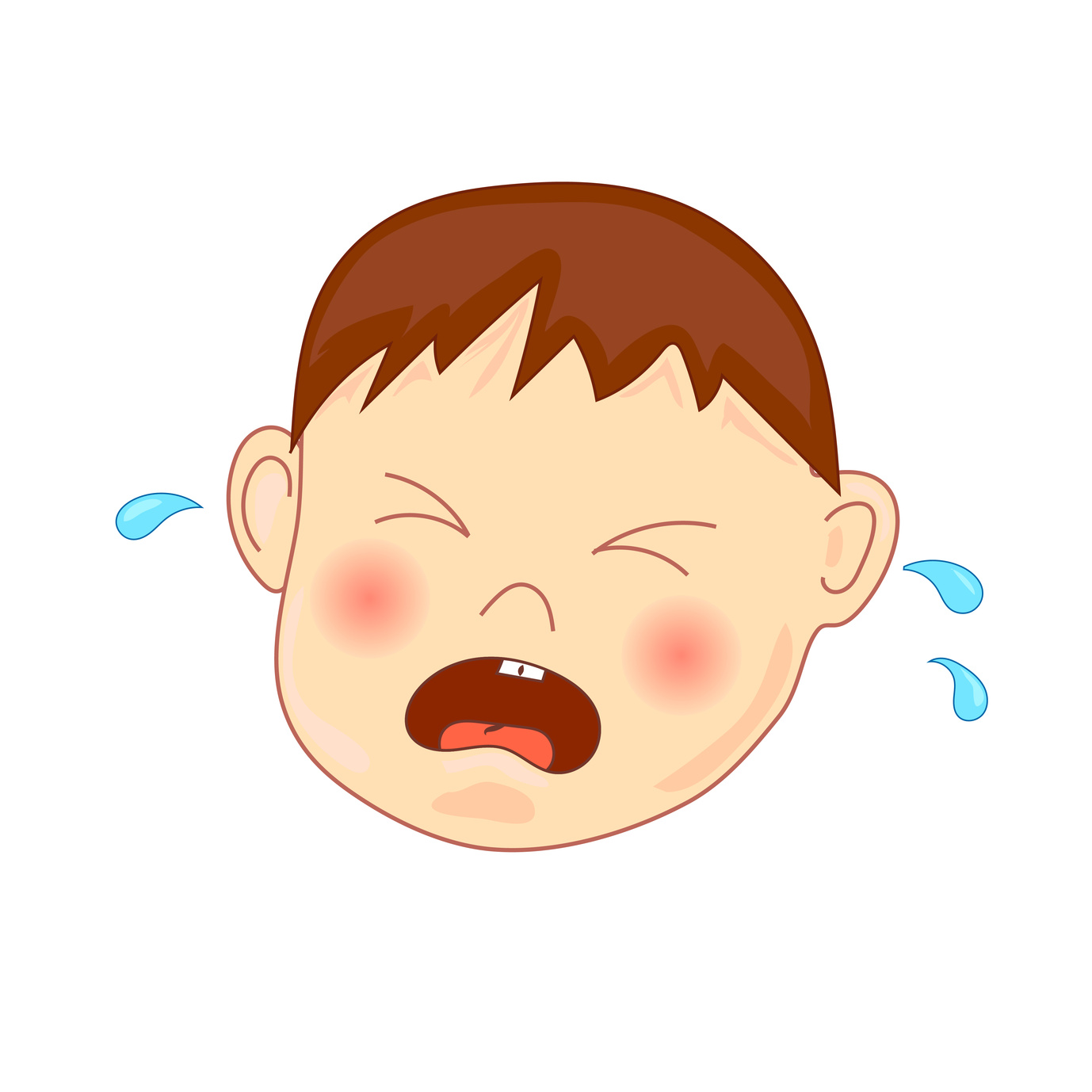 Crying baby, vector illustration, isolated on white.